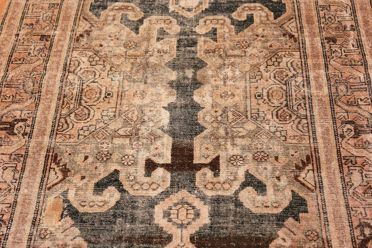 Antique Shabby Chic Tribal Malayer Runner Rug In Distressed Condition For Sale In New York, NY