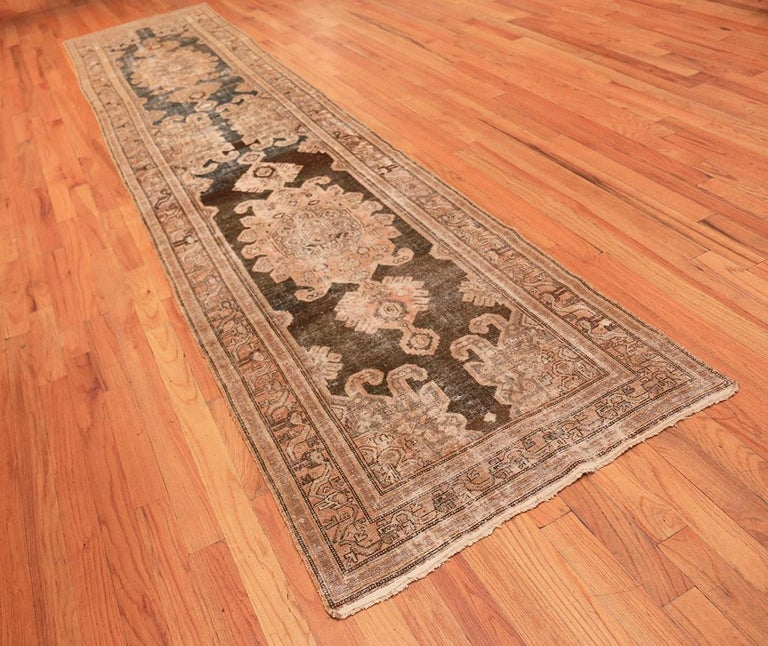 20th Century Antique Shabby Chic Tribal Malayer Runner Rug For Sale