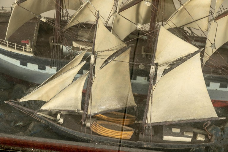 Antique Shadowbox Diorama of Ship Models
