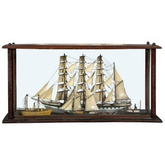 Antique Shadowbox Diorama of Ship Models