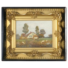 Antique Shadowbox Folk Art Oil on Canvas Landscape Painting, Farm and Sheep