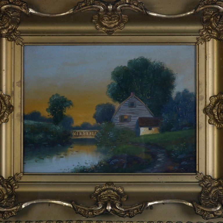 An antique oil on canvas landscape painting depicts farmhouse in countryside setting with creek and bridge, seated in giltwood shadowbox, circa 1900  ***DELIVERY NOTICE – Due to COVID-19 we are employing NO-CONTACT PRACTICES in the transfer of