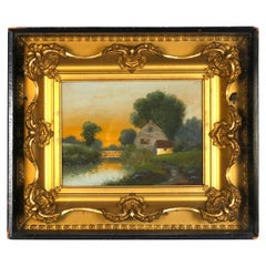 Antique Shadowbox Folk Art Oil on Canvas Landscape Painting with Farmhouse