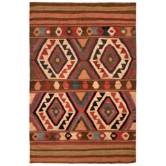 Antique Shahsavan Kilim Transitional Beige-Brown Tribal Flat Weave