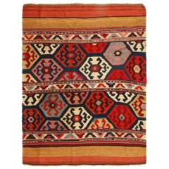 Antique Shahsavan Red and Blue Wool Rug