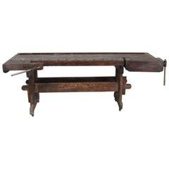 "Antique Shaker Cabinet Makers 96"" Workbench Pre Civil War"