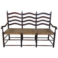 Antique Shaker Farmhouse 3 Seat Settee Rattan Ladder Chair Back Bench