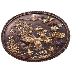 Antique Shakudo Brooch with Image of Mount Fugi, circa 1880