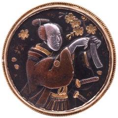 Antique Shakudo Round Ring with Enchanting Scene of Japanese Warrior