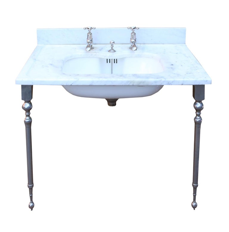 Victorian  Antique 'Shanks' Marble Basin with Stand For Sale