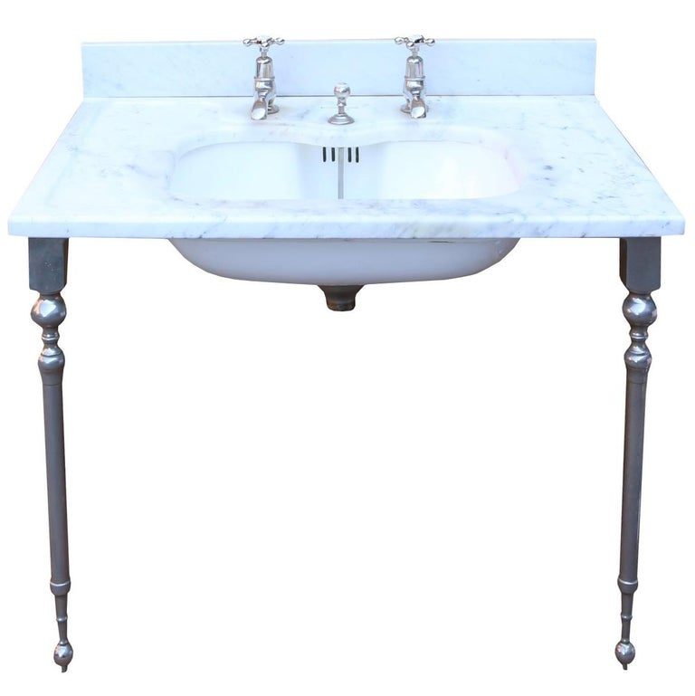 Antique 'Shanks' Marble Basin with Stand For Sale