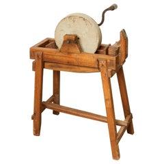 Antique Sharpening Wheel Standing on Wood Base, France, circa 1900