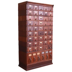 Antique Shaw Walker Oak 51-Drawer Card Catalog Filing Cabinet, Circa 1900