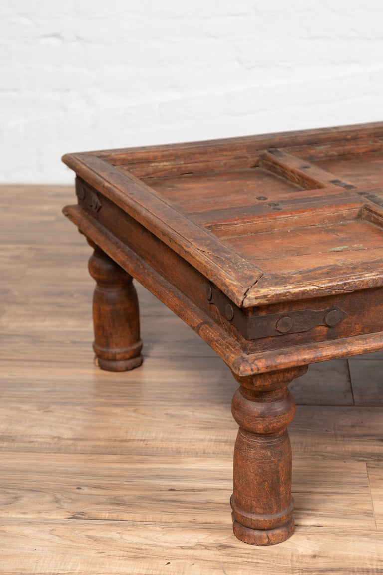 Antique Sheesham Wood Indian Palace Door Made into Coffee Table with Iron Studs For Sale 6