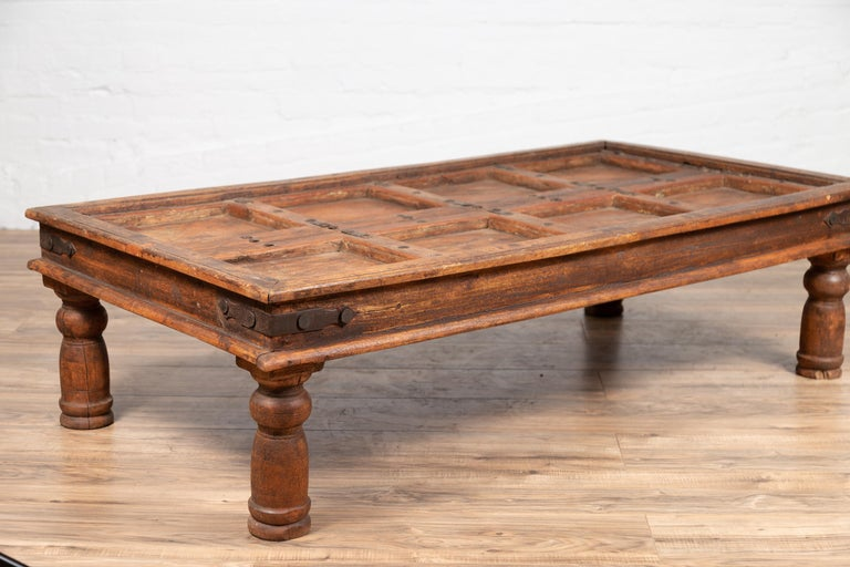 Antique Sheesham Wood Indian Palace Door Made into Coffee Table with Iron Studs For Sale 7