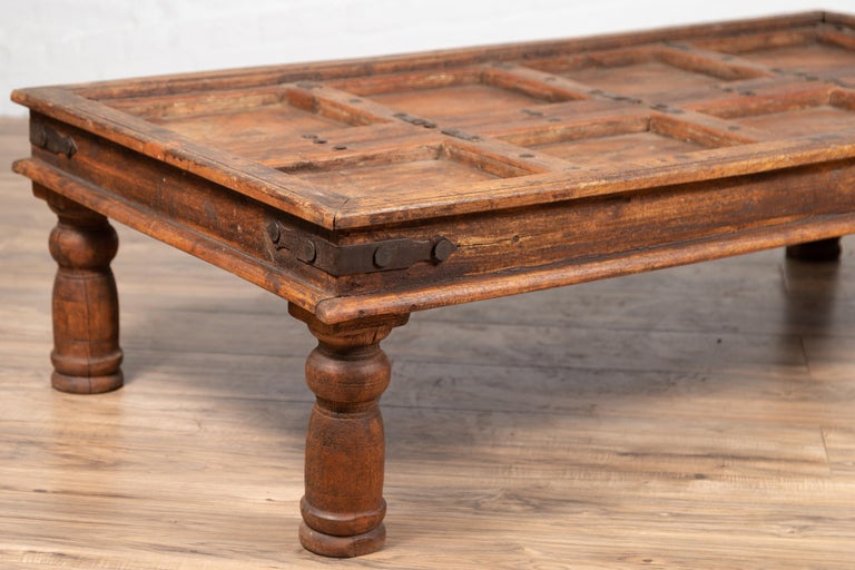 Antique Sheesham Wood Indian Palace Door Made into Coffee Table with Iron Studs For Sale 8