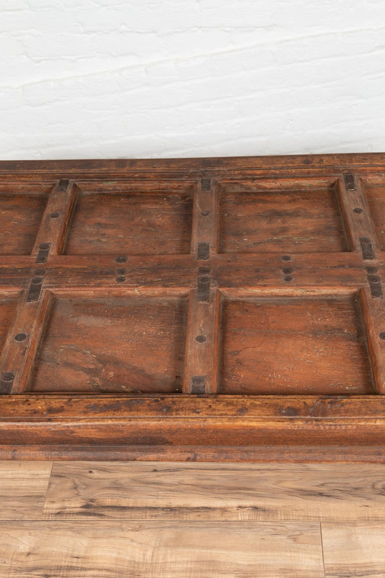 Antique Sheesham Wood Indian Palace Door Made into Coffee Table with Iron Studs For Sale 1