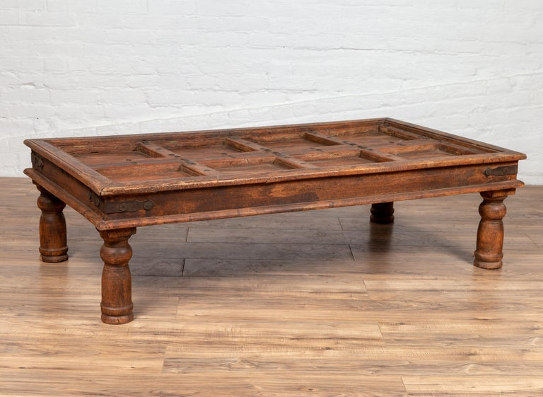 Antique Sheesham Wood Indian Palace Door Made into Coffee Table with Iron Studs For Sale 5