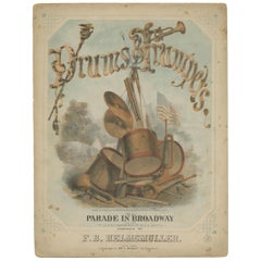 Antique Sheet Music 'Drums & Trumpets or a Parade in Broadway', circa 1865