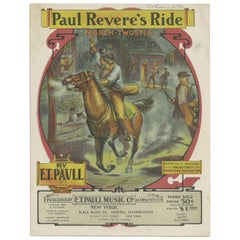 Antique Sheet Music 'Paul Revere's Ride, March-Two Step', Published 1905