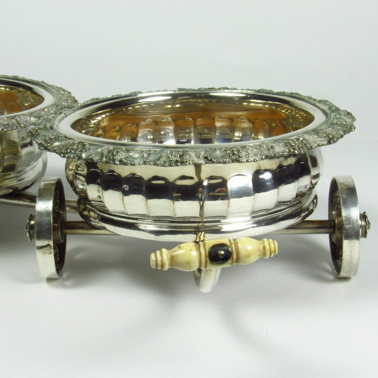 English Antique Sheffield Silver Plate Double Wine Caddy Wagon For Sale