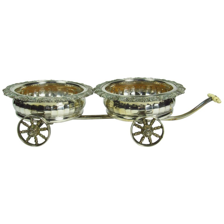 Antique Sheffield Silver Plate Double Wine Caddy Wagon For Sale