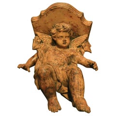 Antique Shelf with Putto Carved in Terracotta, 19th Century, Italy