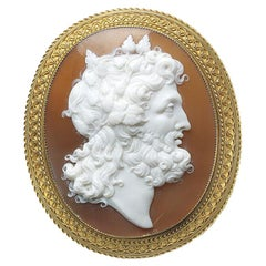Antique Shell Gold Cameo Brooch, Circa 1875