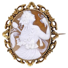 Antique Shell Cameo of a Dancing Bacchante Holding a Bunch of Grapes