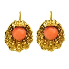 Antique Shell Form Gold Earrings