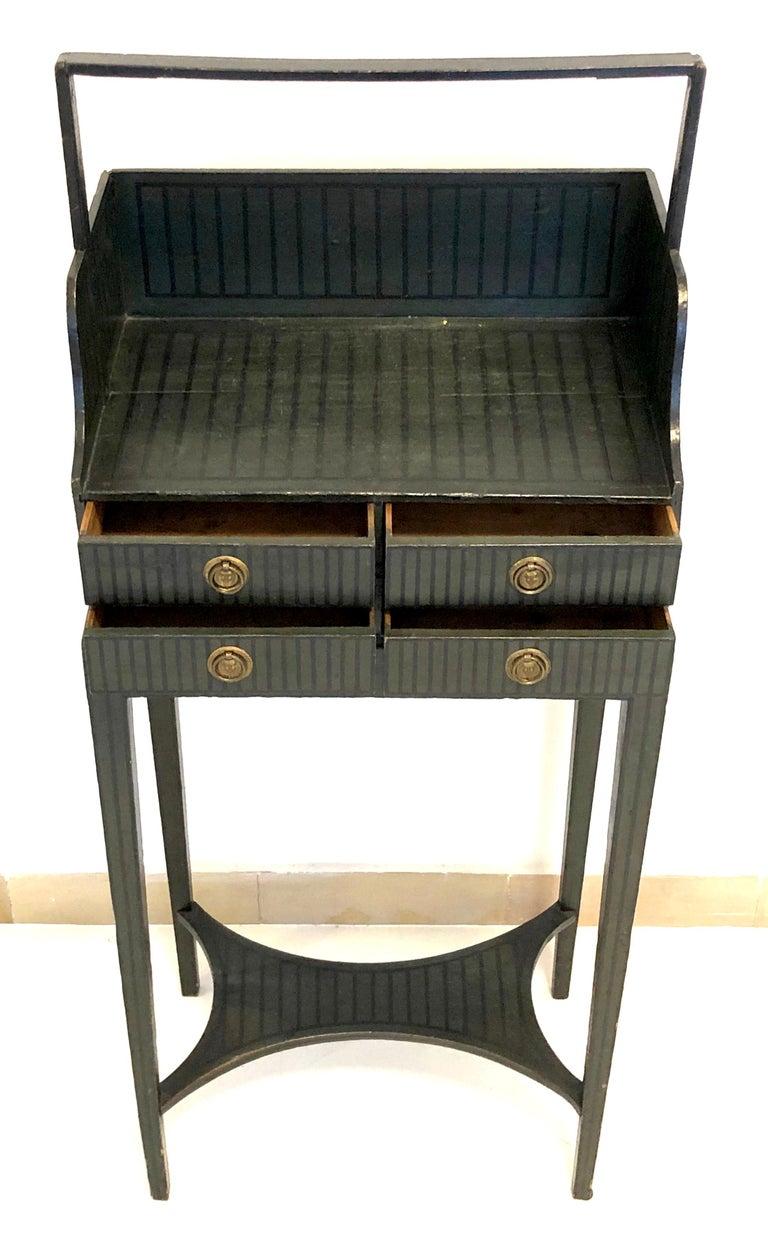 English Antique Sheraton Beechwood Paint Brass Cheveret Desk Case England For Sale