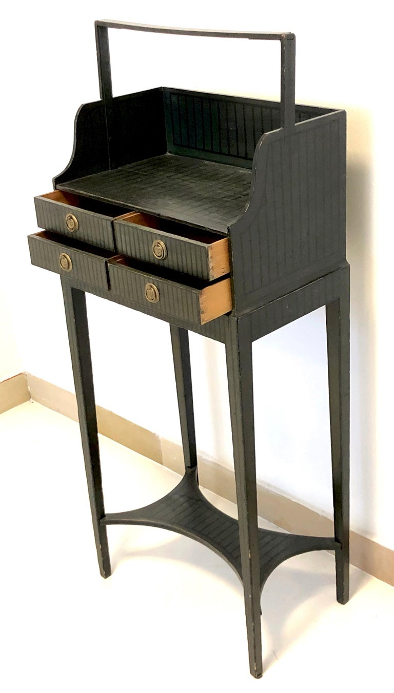 Painted Antique Sheraton Beechwood Paint Brass Cheveret Desk Case England For Sale