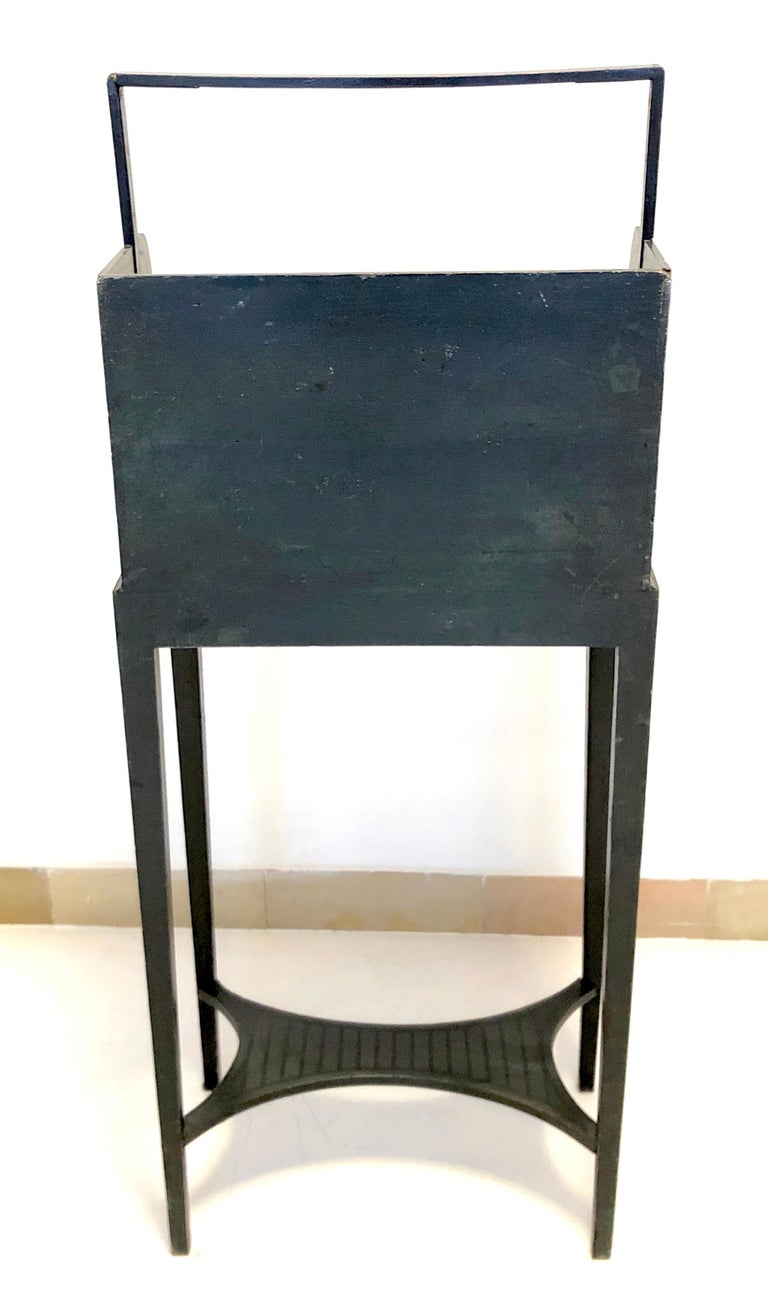 Late 18th Century Antique Sheraton Beechwood Paint Brass Cheveret Desk Case England For Sale
