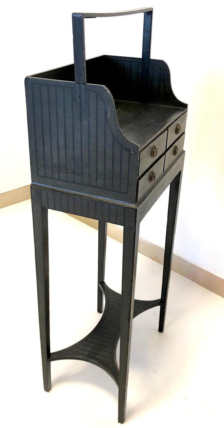 Antique Sheraton Beechwood Paint Brass Cheveret Desk Case England For Sale 1