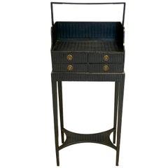 Antique Sheraton Beechwood Paint Brass Cheveret Desk Case England