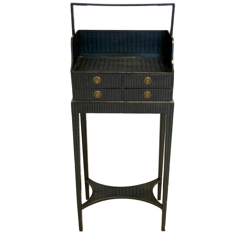 Antique Sheraton Beechwood Paint Brass Cheveret Desk Case England For Sale