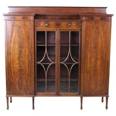 Antique Sheraton Crotch Mahogany Library Bookcase Curio Display Cabinet