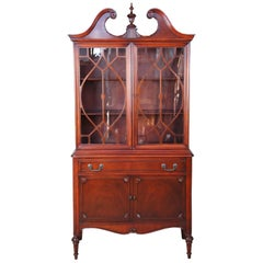 Antique Sheraton Style American Mahogany China Display Curio Cabinet Fretwork