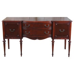 Antique Sheraton Style Mahogany Bowfront Sideboard Buffet Server