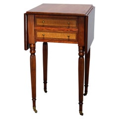 Antique Sheraton Two Drawer Tiger Maple & Cherry Banded Stand, Circa 1830