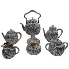 Antique Shiebler Repousse Sterling Silver Coffee and Tea Set