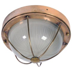 Antique Ship Liner Ceiling or Wall Light with a Holophane Prismatic Glass Shade
