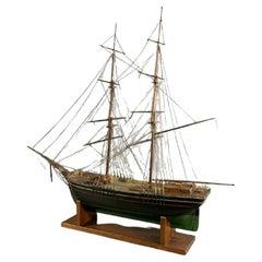 Antique Ship Model, Green & Black