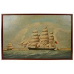 Antique Nautical Ship Portrait, Oil on Canvas, First Half of the 19th Century