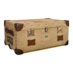 Antique Shipping Trunk, English, Canvas Travel Case, Pukka Luggage, Edwardian