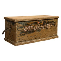 Antique Ship's Chest, English, Pine, Merchant, Tool Trunk, Victorian, circa 1850