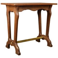 Antique Ship's Table, English Edwardian Teak Brass Side Lamp, circa 1910