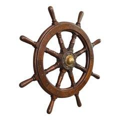 Antique Ship's Wheel, English, Oak, Brass, Maritime, Decorative, Victorian, 1900