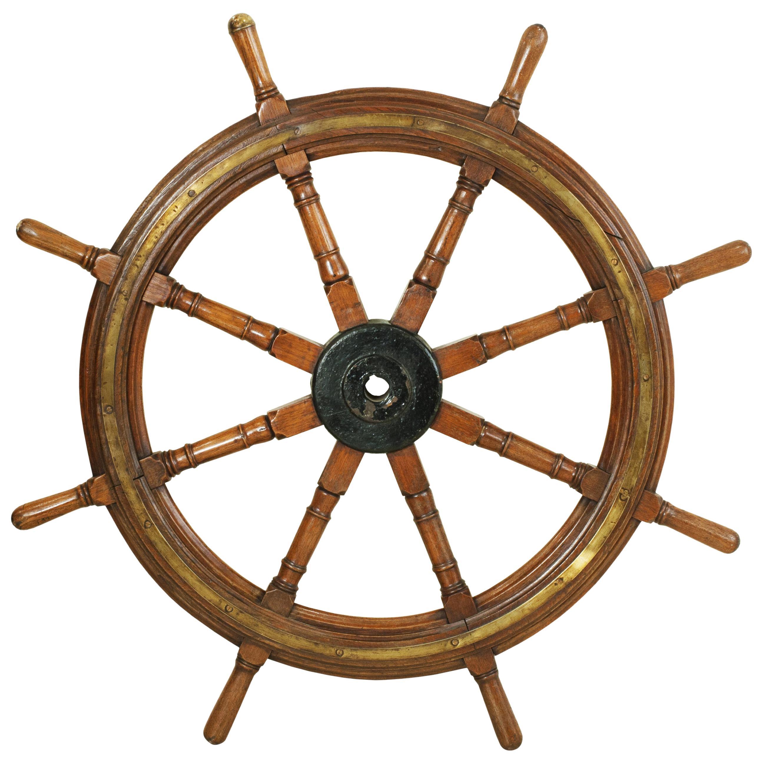 Antique Ships Wheel, Teak Helm Wheel