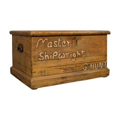 Antique Shipwright's Tool Chest, English, Pine, Merchant's, Trunk, circa 1870